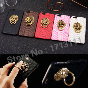 Luxury 3D lion head metal Leather Hard Cover Case For iphone 6 plus 5 5S