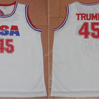 Men 45 Donald Trump Jersey USA Dream Team One Basketball Jerseys Sale Team Color White All Stitched Sport For Sport Fans Top Quality On Sale