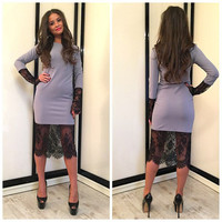 Grey Long Sleeve Floral Lace Accent Midi Dress