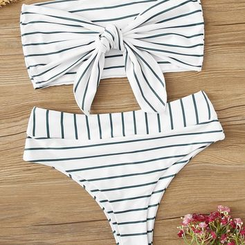 Striped Tie Front Bandeau With High Waist Bikini Set