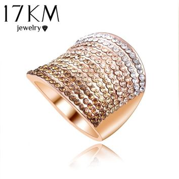 Christmas Gift Gradient Austrian Crystal Engagement Rings/Promise Ring Rose Gold Color Charm Jewelry Ring aneis
