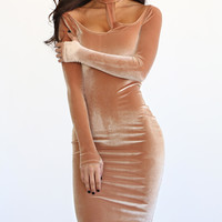 Vogue Velvet Nude Cutout Turtleneck Bodycon Dress