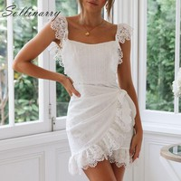 Sollinarry Embroidery Hollow out Lace Summer Dresses Women Sexy Elegant Wrap Short Dress Backless Party Mini Dress Vestidos