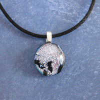 Silver Pendant, Small Dichroic Necklace, Christmas Jewelry, Ready to Ship - Mae - 4575 -3