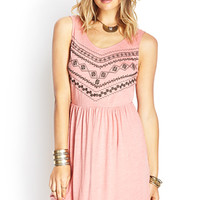 FOREVER 21 Embellished Cutout-Back Dress Peach/Dark Grey