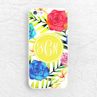 Watercolor Floral Monogram custom name Phone Case for iPhone 6/6s, Samsung S6 LG g4, HTC one M9 m8, Moto X Moto G, personalized phone cover