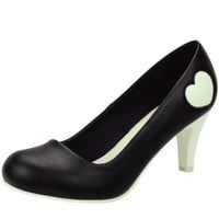 Black Puff Heart Antipop Heel TUK Shoes - Buy Online Australia Tragic Beautiful