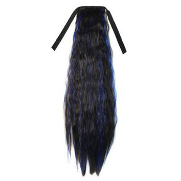 55cm Long Corn Hot Lace-up Horsetail Ponytail Gradient Ramp Hair extension
