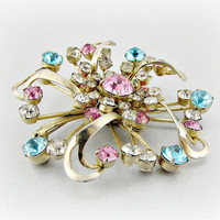 Vintage Rhinestone Brooch Pin, Pink Blue Clear Crystal Brooch, Gold Atomic Starburst Brooch, 1950s 50s Atomic Costume Jewelry