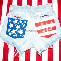 High Waisted American Flag Denim Shorts, Hand Painted American Flag Shorts, Vintage High Waisted Shorts, Studded Shorts, Bleached Shorts