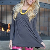 Marry Me Piko Top in Charcoal - Modern Vintage Boutique
