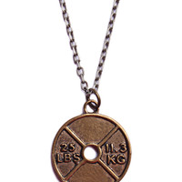 Weight Plate Bronze Necklace for Men