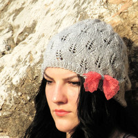 Knitted Beanie Cap Lace Bow Women's Winter Fashion Hat - Light Gray Cap Open Knit Beanie with Lace Crochet Trim, peach lace bow, Fancy Fall
