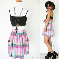 Vintage 80's reproduction upcycled plaid oversized pocket pink green summer high waisted mini skater pleated skirt small medium size S/M