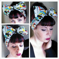 Vintage style Mickey Mouse Headwrap Bandana Hair Big Bow Tie 1940s 1950s Vintage Style