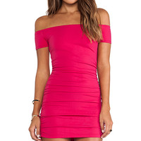 Susana Monaco Jona Off The Shoulder Ruched Tunic in Pink