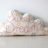 Cloud Cushion Handmade and Embroidered with Sweet Dreams