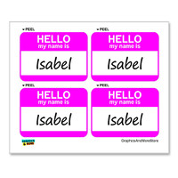 Isabel Hello My Name Is - Sheet of 4 Stickers