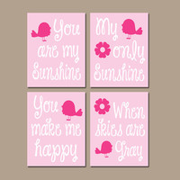 You Are My Sunshine Bird Birdie Flower Wall Art Girl Artwork Hot Pink Nursery Rhyme Quote Baby Song Set of 4 Prints Baby Crib Decor