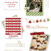 Nordic Christmas Frame: Polaroid Frame Clip Art Holiday Photo Frame Printable Instant Download Scrapbooking Card making Crafting