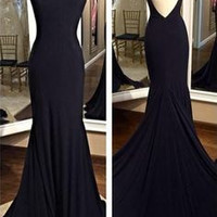 Sleeveless Open Back Mermaid Prom Dresses Evening Dresses