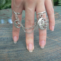 celestial  double ring chained slave ring star sun moon goddess new age belly dancer celestial gypsy hippie morrocan boho and hipster