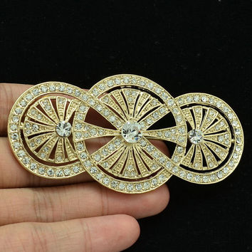 Vintage Brooch Rhinestone Broach Sparkly Crystals Pins Women Hair Clips XBY067 (More Color)