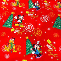 Merry Mickey and Minnie on Red Cotton Fabric - sewing supplies