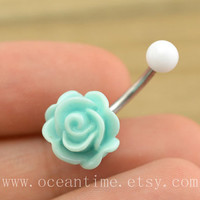 baby blue rose Belly Button jewelry,rose Navel Jewelry,rose bud belly button ring,girlfriend gift,summer jewelry