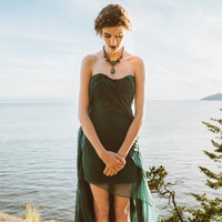 Backless High Low Gown, Emerald Green Gown, Backless Gown, Alternative Bridal, Draped Wedding Dress, Strapless Gown, Short Wedding Dress