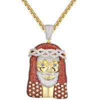 Red Iced Out 14k Gold Finish Religious Jesus Face Pendant
