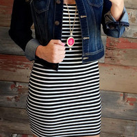 Ribbed Striped Dress: Black