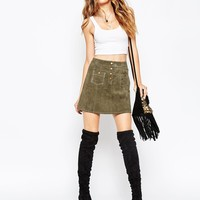 ASOS A-Line Suede Mini Skirt with Contrast Stitch and Button Through