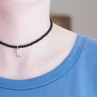Black Choker with Charms // Black Beaded Choker Necklace // Charm Choker Necklace