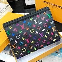 LV New Fashion Multicolor Monogram Print Leather Cosmetic Bag File Package Handbag Black