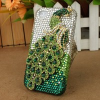 3D Crystal iPhone Case for AT&T Verizon Sprint Apple iPhone 4/4S Green Peacock