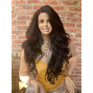 Dark Brown Hair Middle Part with Curls Lace Front Wig 819 *RAQUEL*