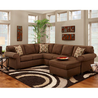 Exceptional Designs Patriot Chocolate Microfiber U-Shaped Sectional