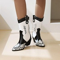 Women Pointed Toe Snake-printed Chunky Heels Short Boots
