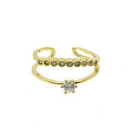 Gold Double Layer Crown Ring