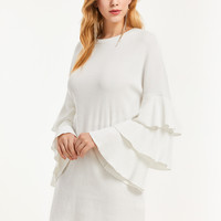 White Knit Ruffle Sleeve Dress
