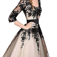 New Black Lace Prom Formal Evening Wedding Party Dress Stock