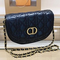 Dior Fashion New Leather Shopping Leisure Shoulder Bag Crossbody Bag Black