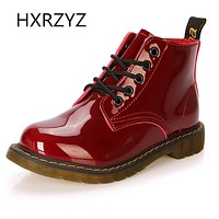 women shoes patent leather lace-up ankle boots cow muscle sole spring and autumn ladies fashion Martin boots red and black