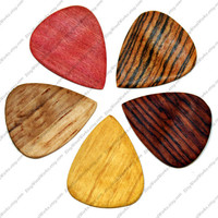 Wood Guitar Pick 5 Pack, Wood Plectrum, Bass Pick, Guitar Pick, Electric Guitar Pick Rosewood, Bocote, Pink Ivory, Oak, Osage