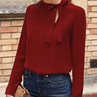 Red Bow Cut Out Round Neck Long Sleeve Casual Blouse