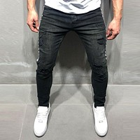 Fashion Men Side Arrow Patched Skinny Jeans