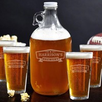 Classic Brewery Growler and Beer Glasses Gift Set