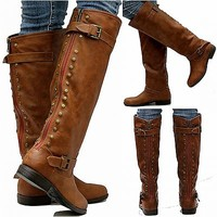 New Womens JM18 Red Zipper Tan Studded Riding Knee High Boots USA Sz 5.5 to 11