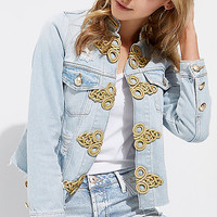 Light blue ripped military denim jacket - jackets - coats / jackets - women